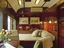 Blue Train bedroom interior with luxury double bed